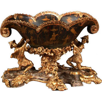 Elizabeth Marshall 571-10-11766 Chinoiserie Black and Gold Centerpiece Bowl