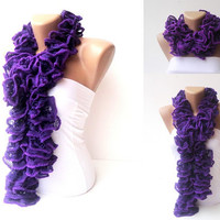 scarf ,women hand knitted ruffled scarf - purple ruffle fashion scarves ruffle knitting handmade - outfits