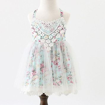 2017 Baby Girls Boutique dress Girls floral Lace sleeveless Summer Ball Gown Dresses, Princess Fairy Tulle Party Dance Dress