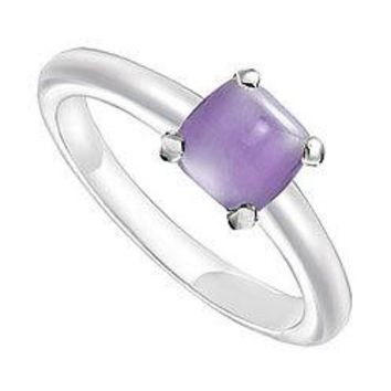 Blue Chalcedony Ring : 14K White Gold - 5.00 CT TGW