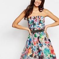 Little Mistress Bandeau Printed Prom Dress