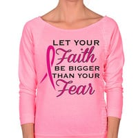 Pink Ribbon Womens Off the Shoulder Shirt, Breast Cancer Survivor, Breast Cancer Shirt, Breast Cancer Awareness t shirt, faith hope fight