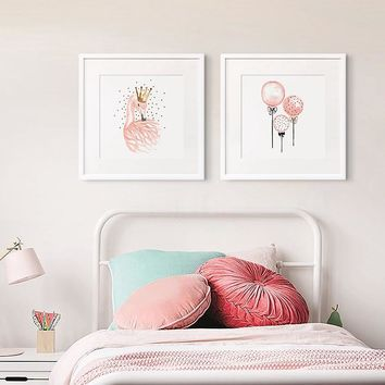Canvas Posters And Prints Abstract Watercolor Pink Swan With Crown Feathers Balloon Wall Art Canvas Painting Picture Home Decor
