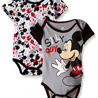 Disney Baby Mickey Mouse Adorable Soft 2 Pack Bodysuits, White, 6-9 Months