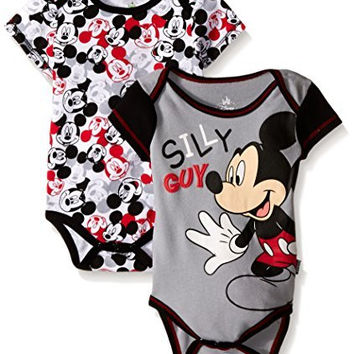 Disney Baby Mickey Mouse Adorable Soft 2 Pack Bodysuits, White, 3-6 Months
