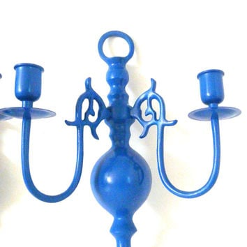 cobalt blue candle sconces, wall decor, hanging candle holders, ornate, upcycled metal