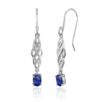 Oval Created Blue Sapphire Celtic Knot Drop Dangle Earrings in Sterling Silver
