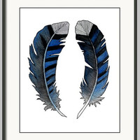 Watercolor BlueJay Feathers Print, Decorative Wall Decor, Nature Wall Art, Blue Feathers, Giclee Print, Child's Bedroom Art, Bohemian Decor