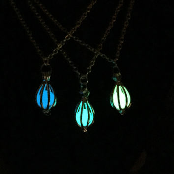Luminous Glow-in-Dark Teardrop Pendant Necklace Lantern