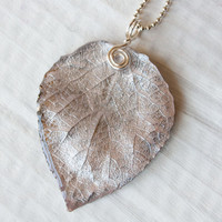 Antique Silk Aspen Leaf Pendant, Bridesmaid Necklace, Nature Jewelry