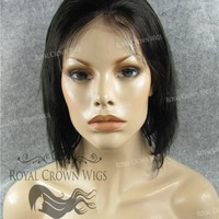 10 Inch Lace Front Human Hair Wig with Straight Texture in #1b