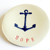 Ceramic Jewelry Dish Anchor Plate Red and Navy Blue Pottery Plate HOPE Text Message