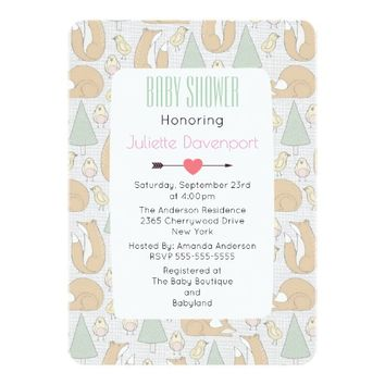 Cute Woodland Creatures Pattern Baby Shower Invite