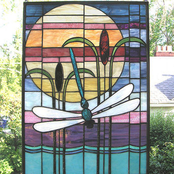 "Stained Glass Window Panel--Dragonfly Sunset-16"" x 22"""
