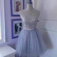 Sweetheart Grey Homecoming Dress Fast Free Shipping