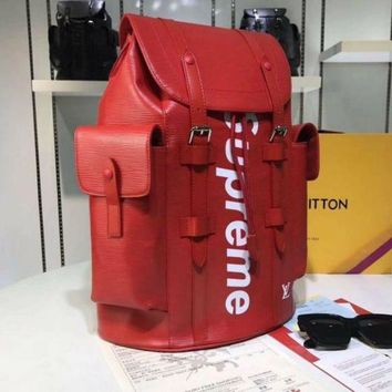Louis Vuitton Supreme Men Pockets Backpack Trave Lv Bag