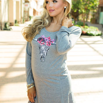 Floral Skull Head Long Sleeve Pocket Dress Gray