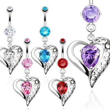 Vintage Heart Belly Ring With Teardrop CZ