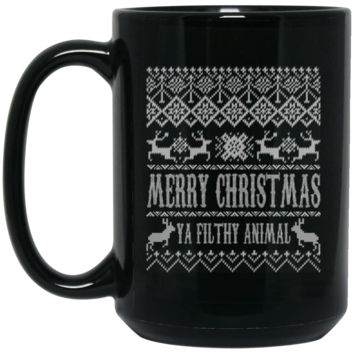 Ugly Christmas Sweater Home Alone Merry Christmas Ya Filthy Animal BM15OZ 15 oz. Black Mug