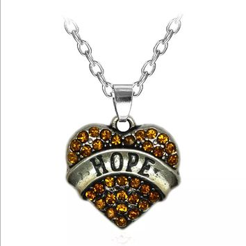 Amber Crystal HOPE Heart Necklace