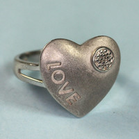 "Sterling ""Love"" Heart Ring Diamond Accent Size 8"