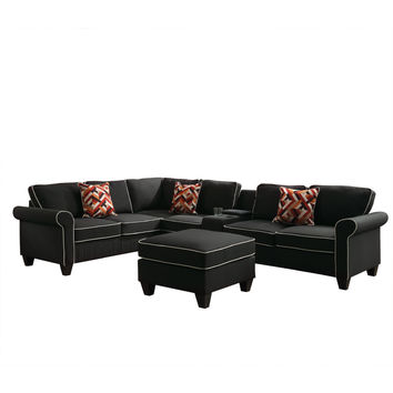 Acme 54240-41-42-44 4 pc Kelliava black fabric modular sectional sofa with USB power dock console