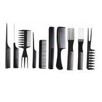 New style 10Pcs Black Pro Salon Hair Styling Hairdressing Plastic Barbers Brush Combs Set ABS Material 2017 Anne