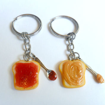 Peanut Butter and Jelly Keychain Set, Strawberry, Knife & Spoon, Best Friends Keychains