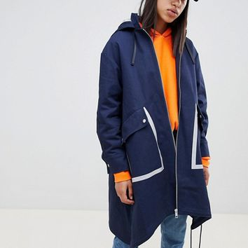 ASOS DESIGN metallic sport trim parka at asos.com
