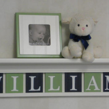 "Navy and Green Nursery Wall Decor 30"" Linen White Shelf - Sign with 7 Wood Letters Custom for WILLIAM"