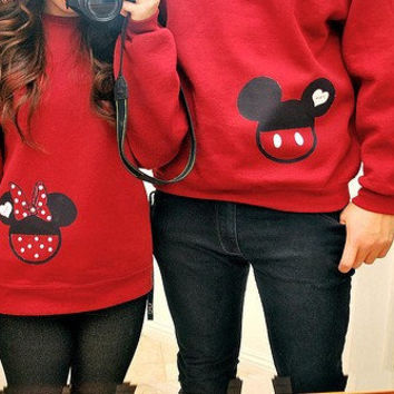 2 Sweatshirts - Mickey Mouse and Minnie Mouse - Disney Custom SweatShirts Personalized Applique