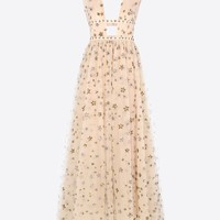 Valentino Long Dress In Embroidered Tulle, Dresses for Women - Valentino Online Boutique