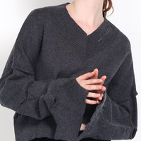 Gray V-neck Cut Out Detail Long Sleeve Knit Sweater
