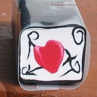 Tattoo read heart with barbed wire clay cane | ArtmakersWorlds - Handmade Supplies on ArtFire