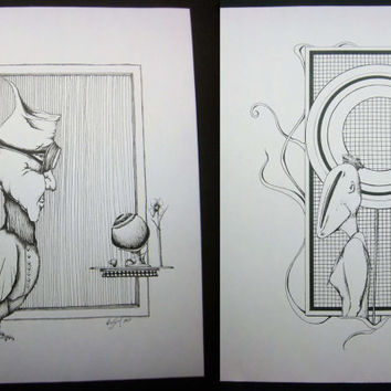 Lollipop and Tea with Eyeball Set: Surreal art, pen drawing, original, pen and ink illustration, doodle, black and white 9x12