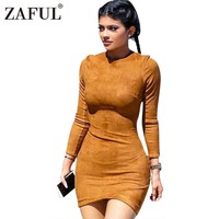 ZAFUL Long Sleeve Slim Party Dress Sexy Club Brown Vestido Women Winter Dresses Kylie Skin Tight Faux Suede Bodycon Dress