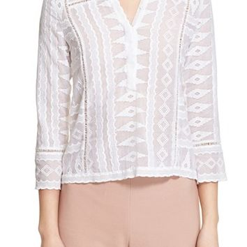 Rebecca Taylor Embroidered Gauze Blouse | Nordstrom