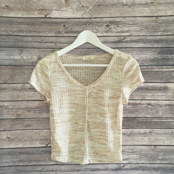 Brandy Ribbed Crop Tee (Oatmeal)
