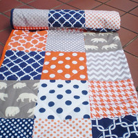 Baby Quilt,navy,grey,orange,Patchwork Crib quilt,baby boy bedding, baby girl quilt,bears,woodland,rustic,Birch organic,chevron,dots,toddler,