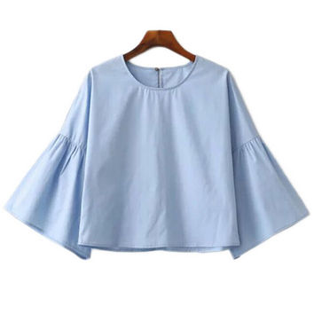 Bell Sleeve Blouse in Blue