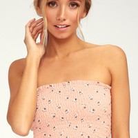 Be Pacific Blush Pink Floral Print Strapless Crop Top