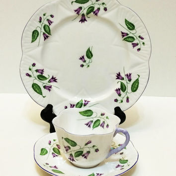 Vintage Shelley Tea Cup and Plate Trio, Dainty,  Campanula, Lilac Rims, Wedding Gift, 1950s