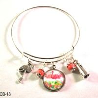 Flamingo Bangle Bracelet with Lighthouse Charms and Pink Beads, Adjustable