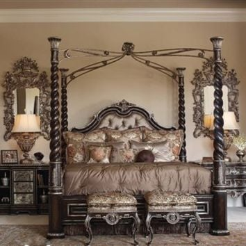 Tufted headboard, four post bed, high style