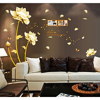 Chinese Style White Flowers  Wall Stickers Removable DIY Wall Art Decor Decals Murals