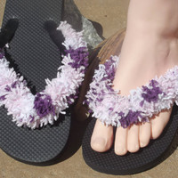 Fringe Flip Flops, Pedicure Sandals, Yoga Shoes, Beach Apparel, Vacation Clothing, Spring Accessory