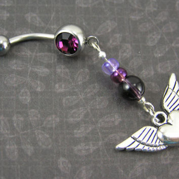 Biker Belly Button Ring ~ Silver Wing Flying Heart & Purple Dangle Beaded Navel Body Piercing Bar Body Jewelry 14G
