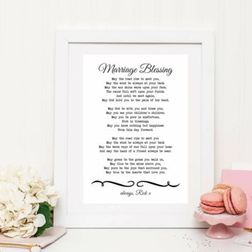 May The Road Rise To Meet You, MARRIAGE BLESSING, Personalized Wedding Poem Gift Print