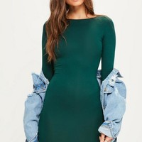 Missguided - Green Jersey Bodycon Mini Dress