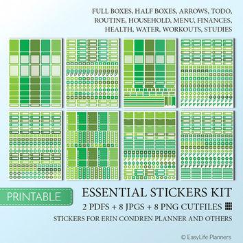 Erin Condren Planner Stickers Printable Green Full Boxes Quarter Boxes Hlfboxes Cutfile Stickers Cute Digital Glam Stickers Instant Download
